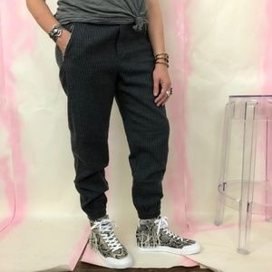 Zara Wool Pinstriped Ankle Zipper Jogger Pant Pock